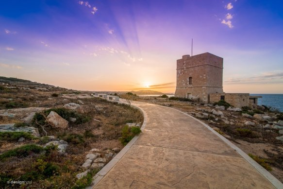 Sunset above the watchtower, Pembroke, #Malta | Photography by ©@designhorf.jpg